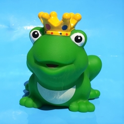 Frog king with crown with color yellow D  Plastic/Rubber Frogs